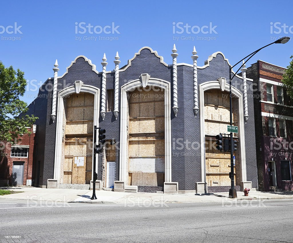 Boarded up Vintage Commercial Building in Chicago stock photo