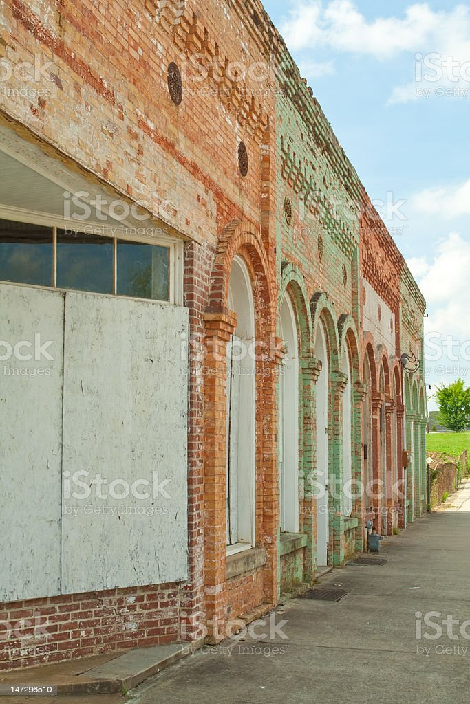 Boarded Up Weathered Vintage Store Front Facade, South Carolina royalty-free stock photo