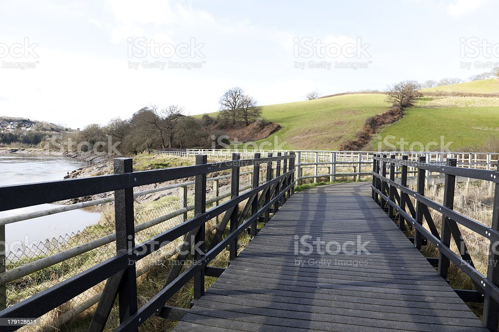 Boarded Walking and Cycle Route stock photo