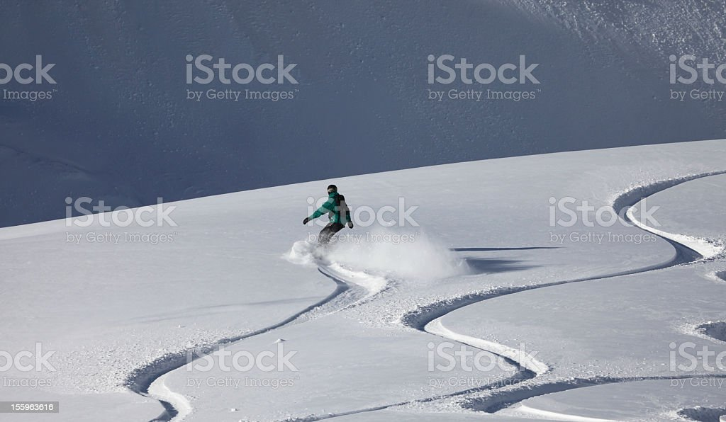boarder in fresh powder snow, New Zealand stock photo