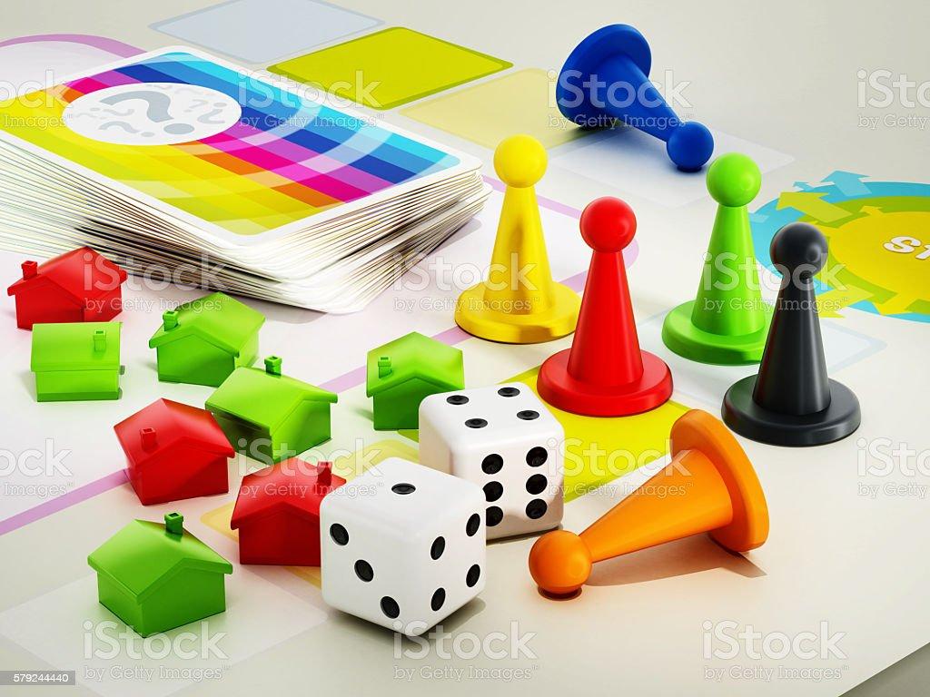 Boardgame pieces stock photo