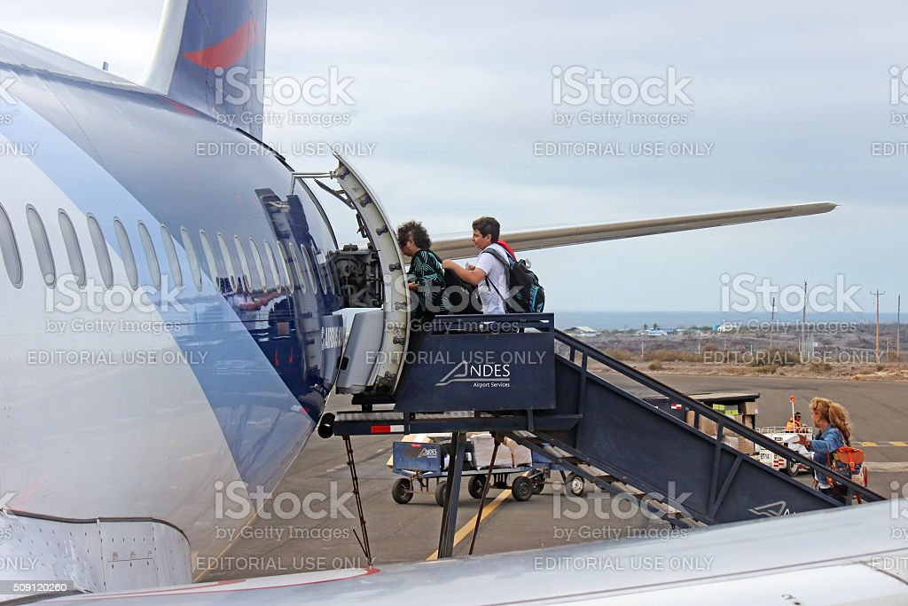 Boarding a Plane - Galapagos Islands stock photo