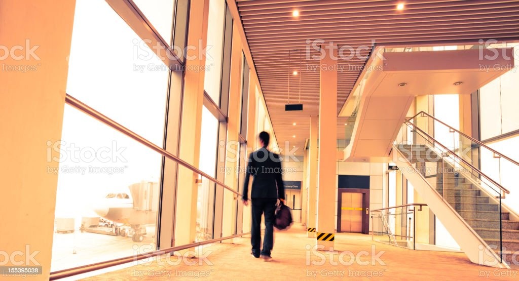 boarding airplane royalty-free stock photo