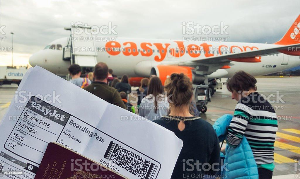 Boarding an Easyjet Flight stock photo