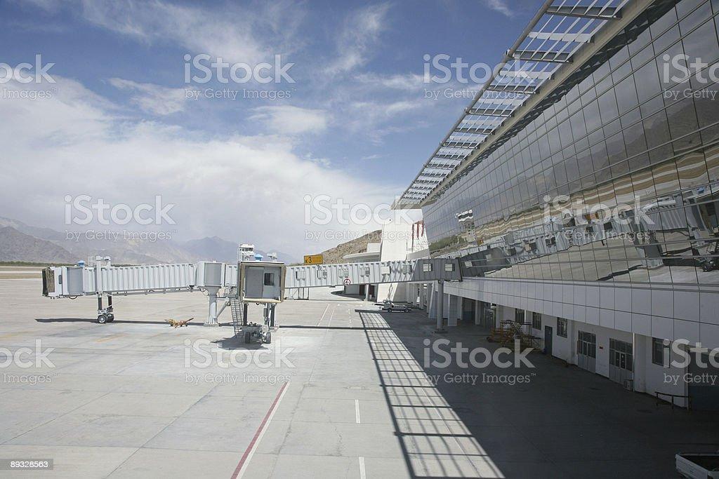 Boarding Gate Bridge In Airport stock photo