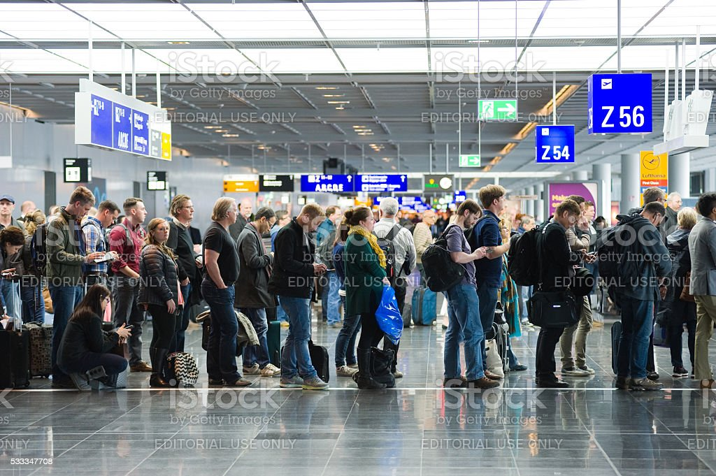 Boarding on airport stock photo