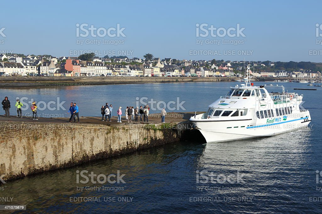 Boarding Ouessant island stock photo