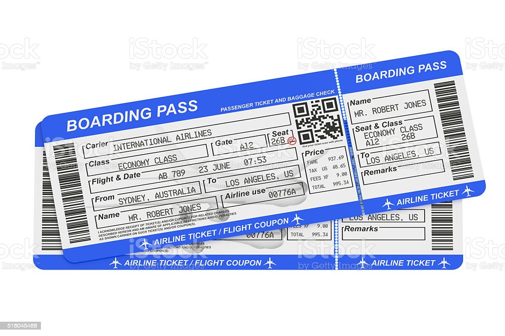 Boarding pass tickets stock photo