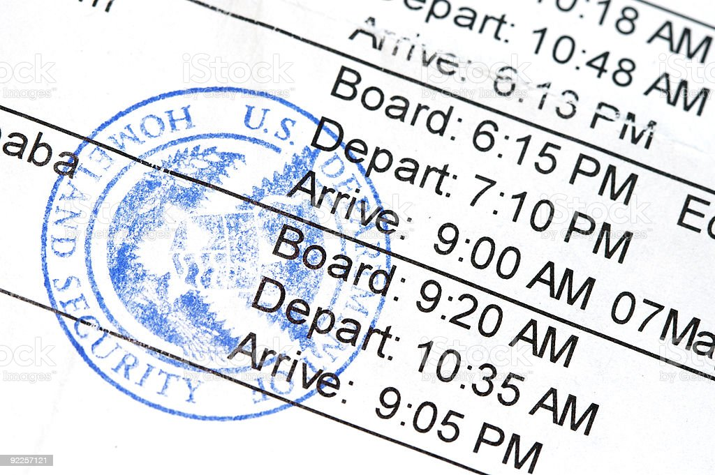 Boarding pass with different shuttle times stock photo