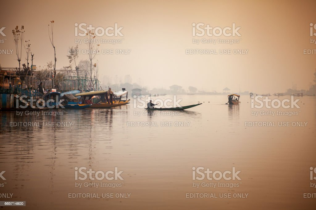 Boarding point at lakesides of Dla lake for Shikara tourist boats stock photo