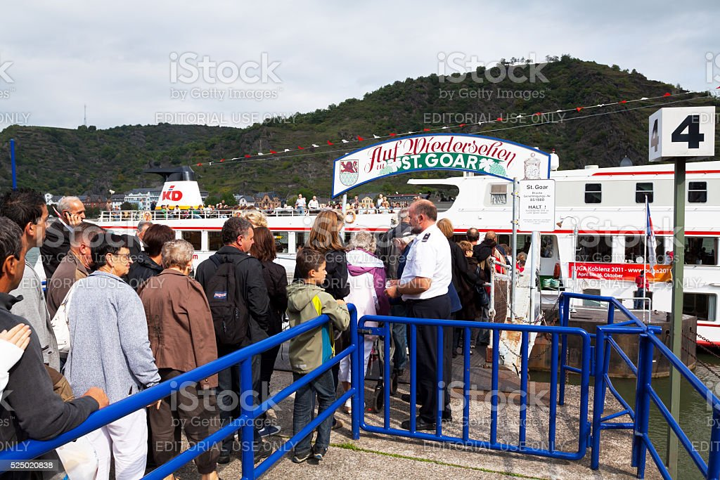 Boarding tour boat on Rhine stock photo