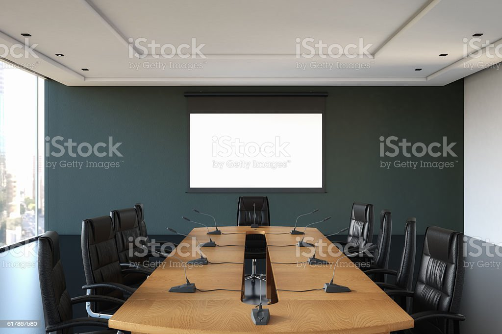 Boardroom with Blank Screen stock photo