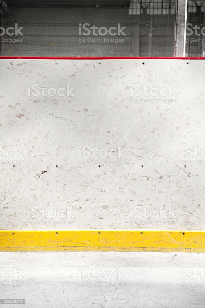Boards at the hockey arena royalty-free stock photo