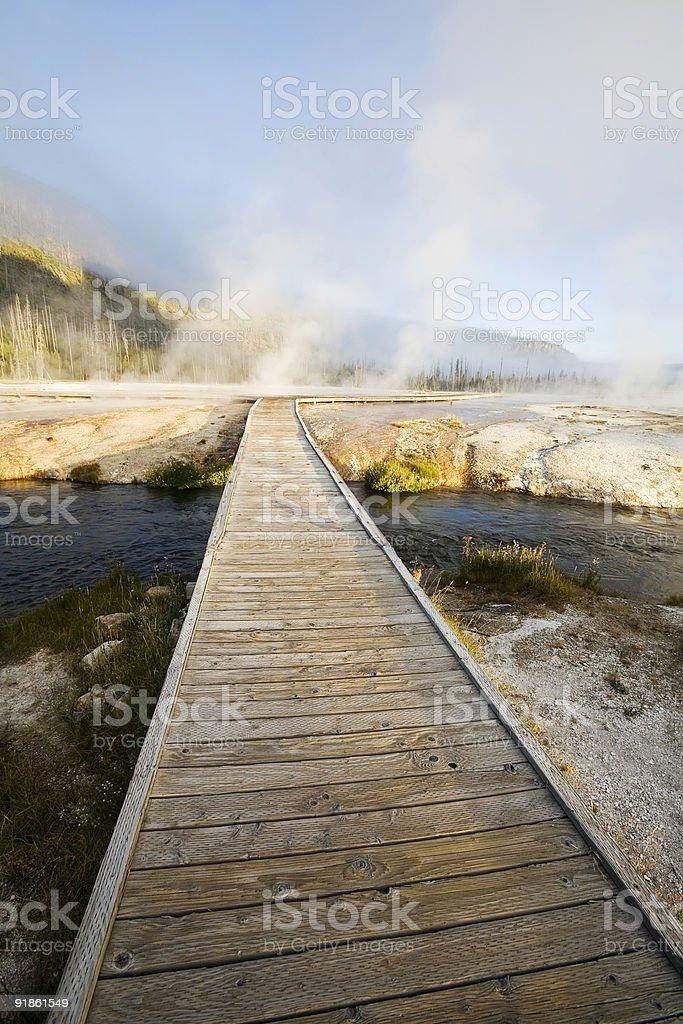 Boardwalk across Firehole River, Yellowstone stock photo