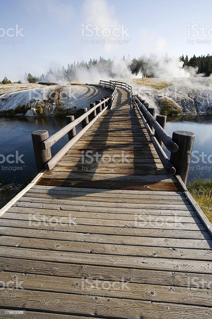 Boardwalk Across the Firehole River stock photo