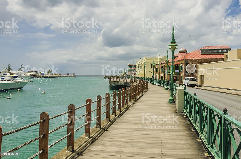Boardwalk along a Harbour stock photo