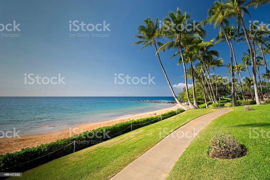 Boardwalk along Ulua Beach, south shore of Maui, Hawaii stock photo