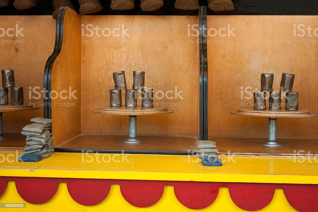 A boardwalk and carnival can game that is set up stock photo