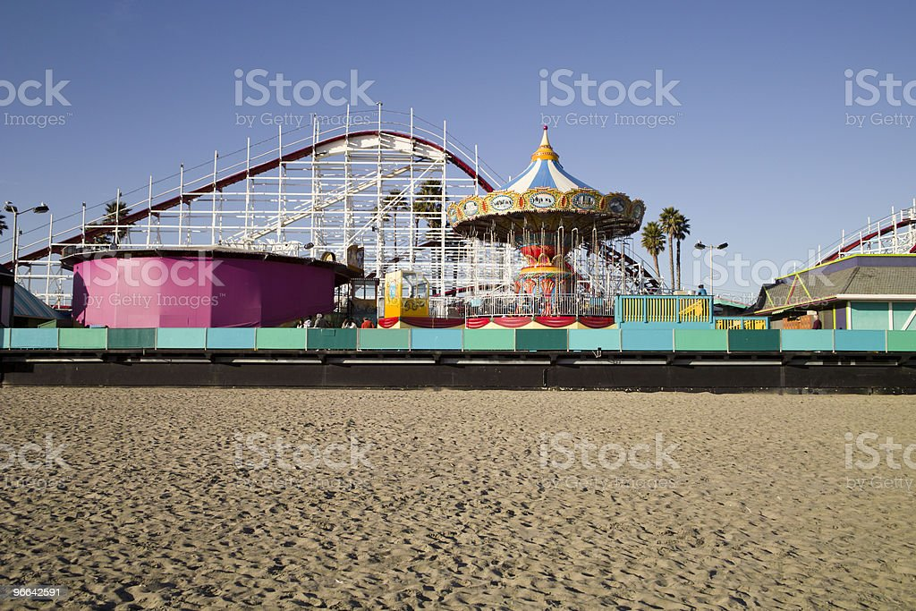 Boardwalk and Roller Coaster stock photo