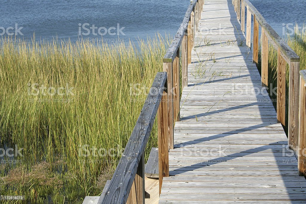 Boardwalk and water view in Cape Cod stock photo