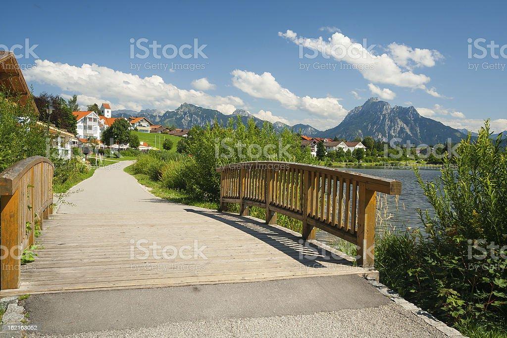 Boardwalk at lake Hopfensee royalty-free stock photo