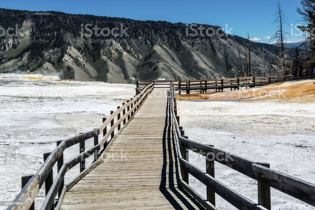 Boardwalk at Mammoth Hot Springs Yellowstone National Park stock photo