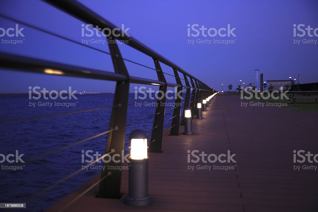 Boardwalk at night royalty-free stock photo