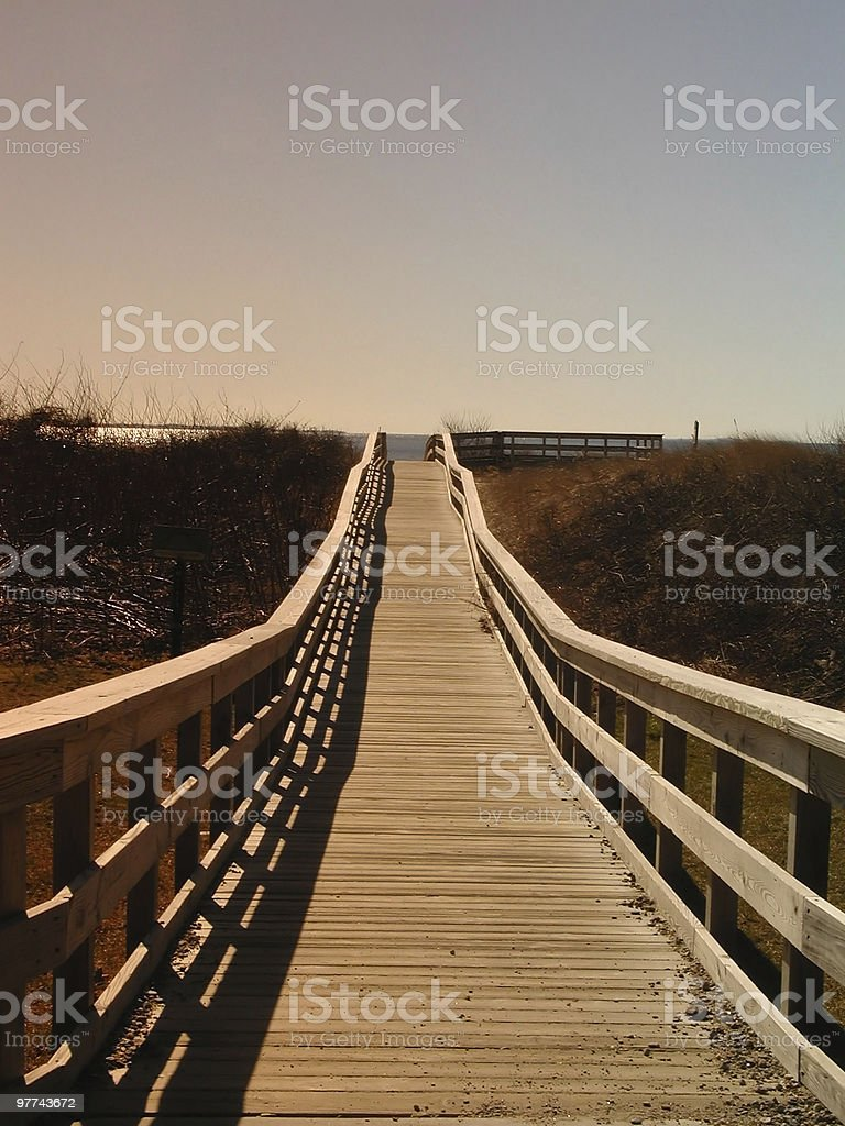 Boardwalk at Sunset stock photo