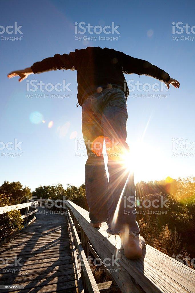 Boardwalk balance royalty-free stock photo