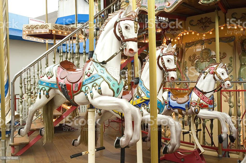 Boardwalk Carousel Horses stock photo