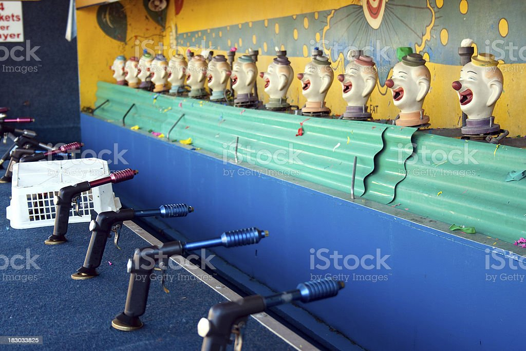 Boardwalk Game, spray water at the clowns royalty-free stock photo