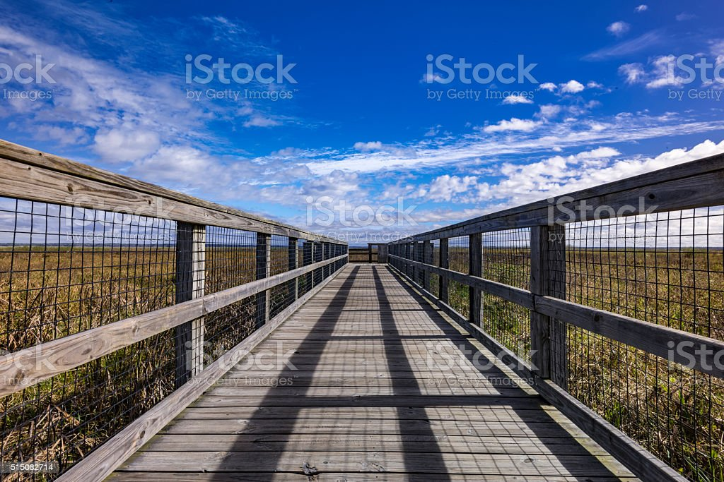 Boardwalk in a prairie, leading lines into the distance stock photo