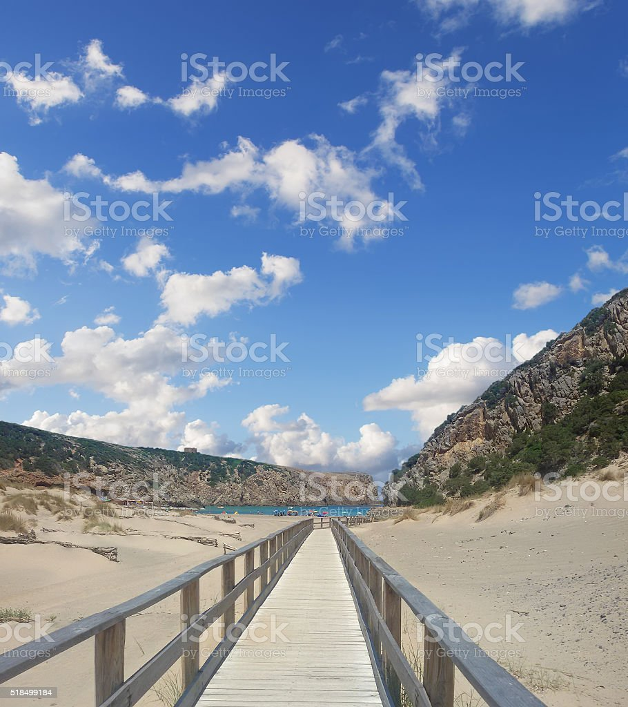 boardwalk in Cala Domestica stock photo