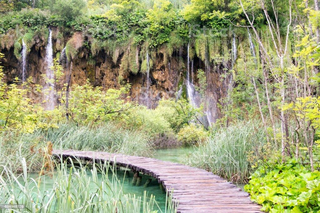 boardwalk in Plitvice stock photo