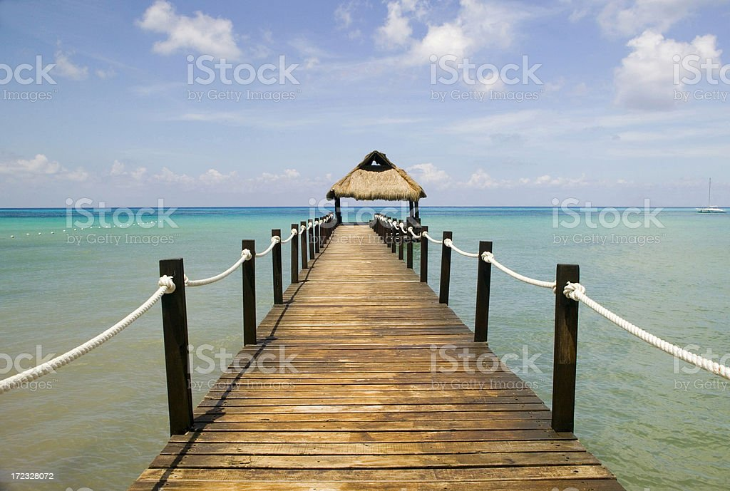 Boardwalk in the Caribbean royalty-free stock photo