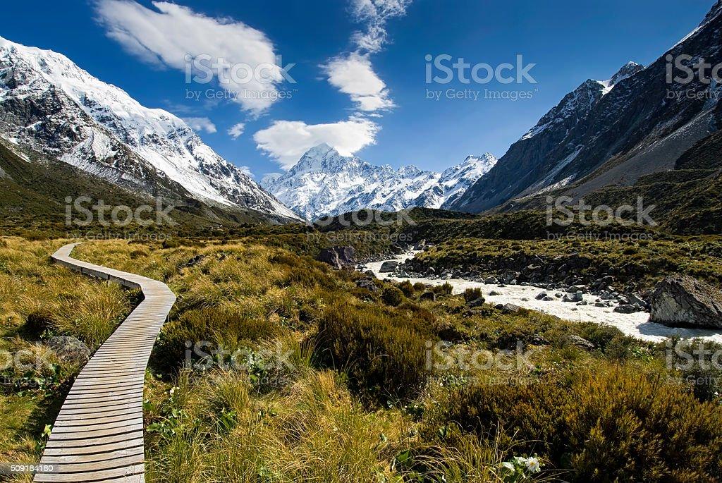 Boardwalk in the Hooker valley looking towards Mt Cook stock photo