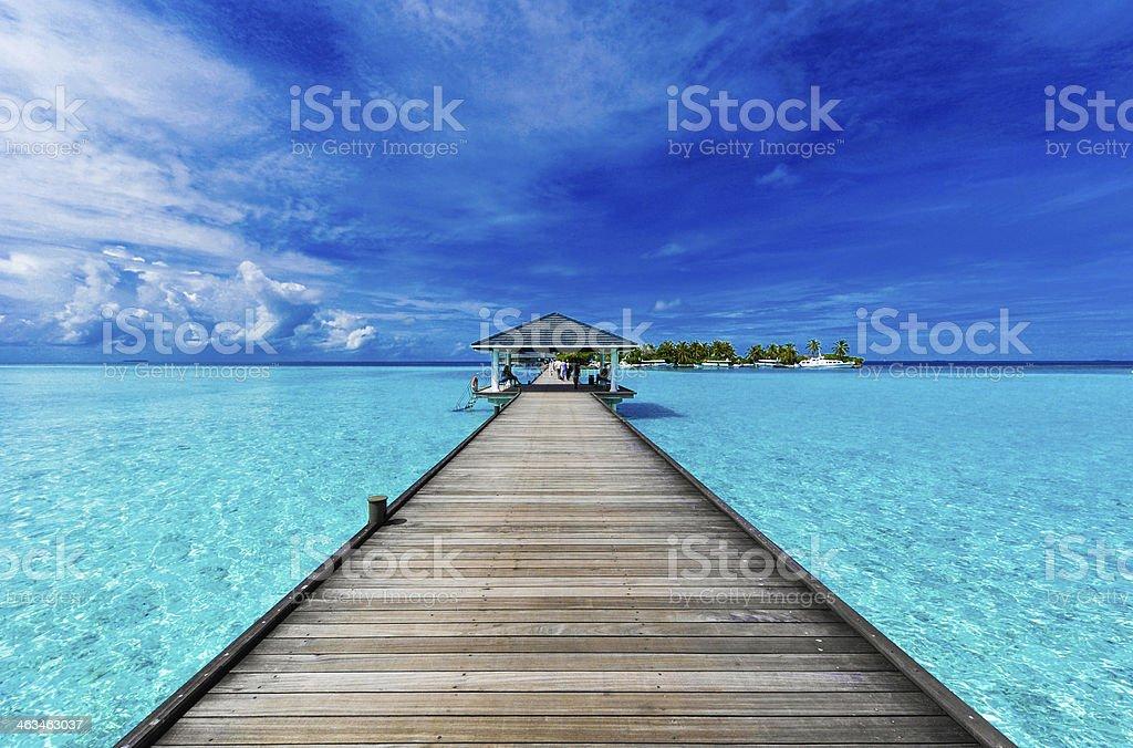 Boardwalk in the Maldives stock photo