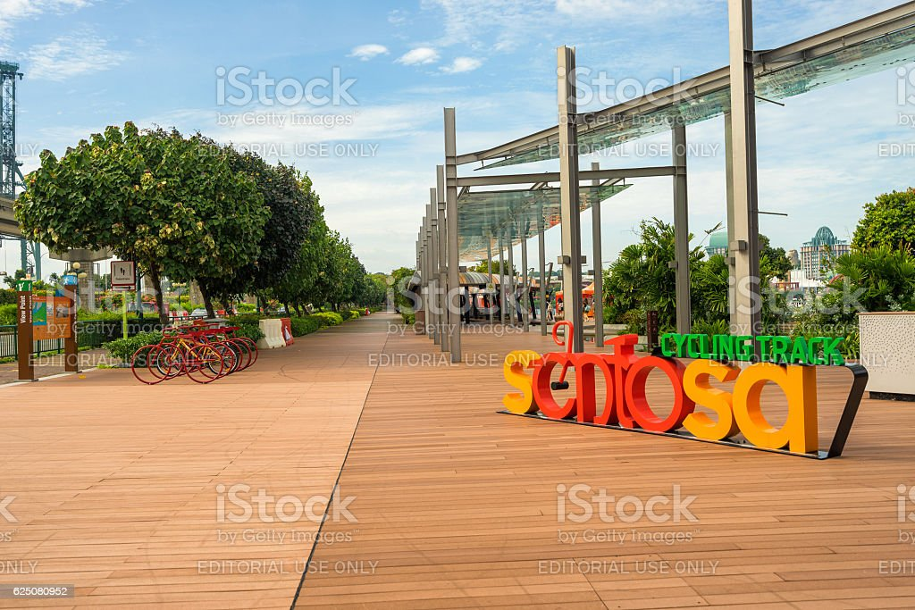 Boardwalk lead to Sentosa Island in Singapore stock photo