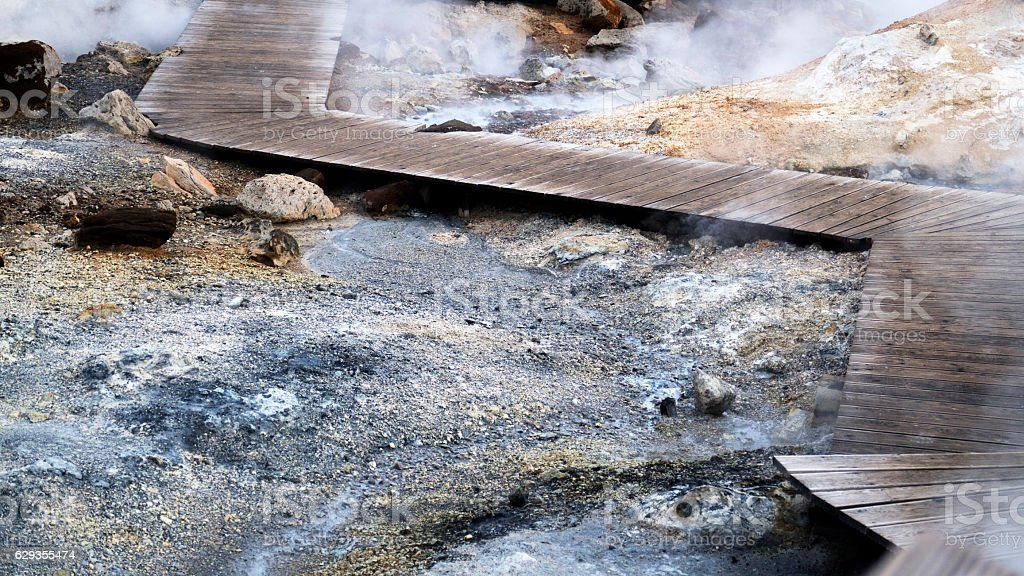 Boardwalk leading through Krisuvik geothermal field in winter,Iceland stock photo