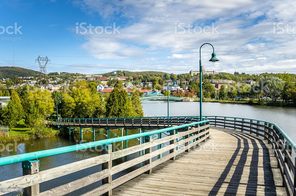 Boardwalk on a Clear Autumn Day stock photo