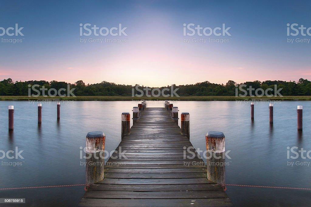boardwalk on lake stock photo