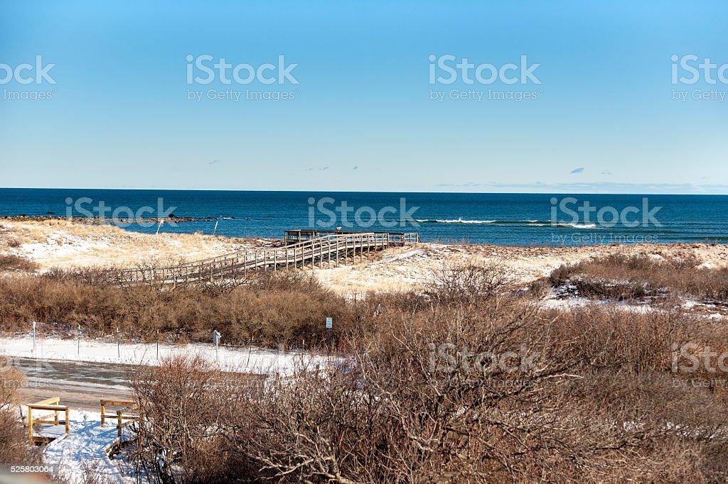 Boardwalk overlooking Atlantic Ocean stock photo