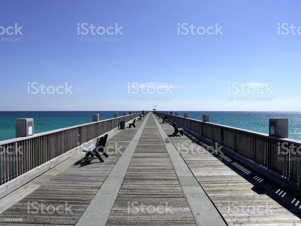 Boardwalk Pier at the Beach stock photo