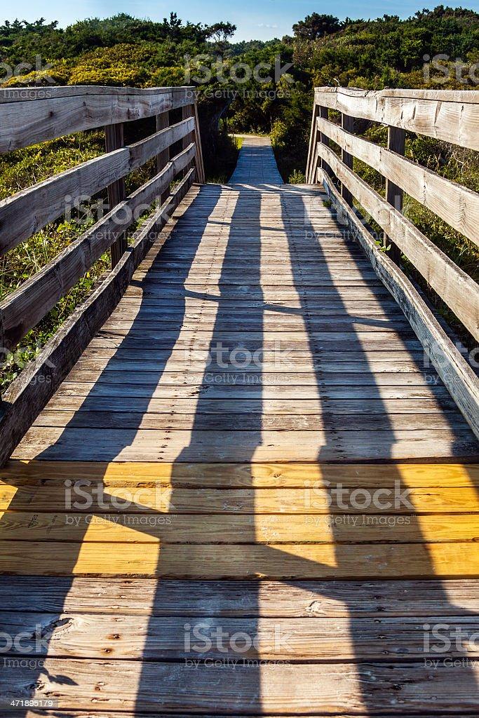 Boardwalk Platform with Shadow Pattern Symmetry royalty-free stock photo