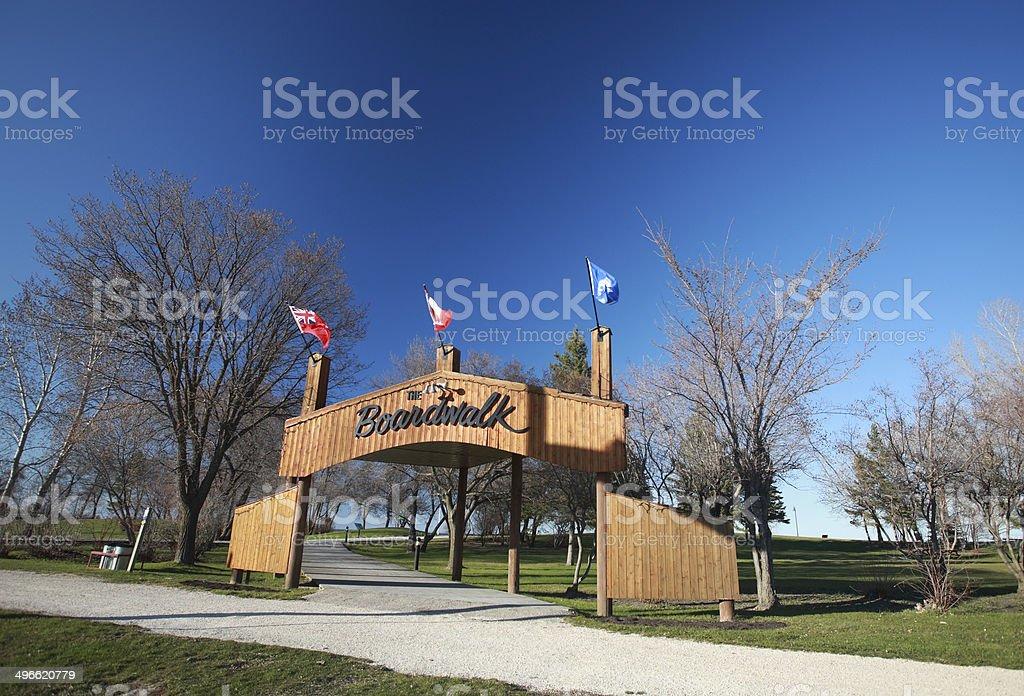Boardwalk sign at Winnipeg Beach stock photo