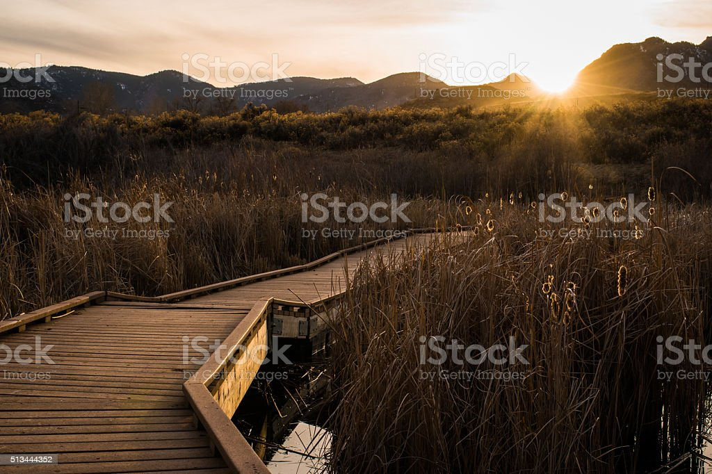 boardwalk sunset royalty-free stock photo