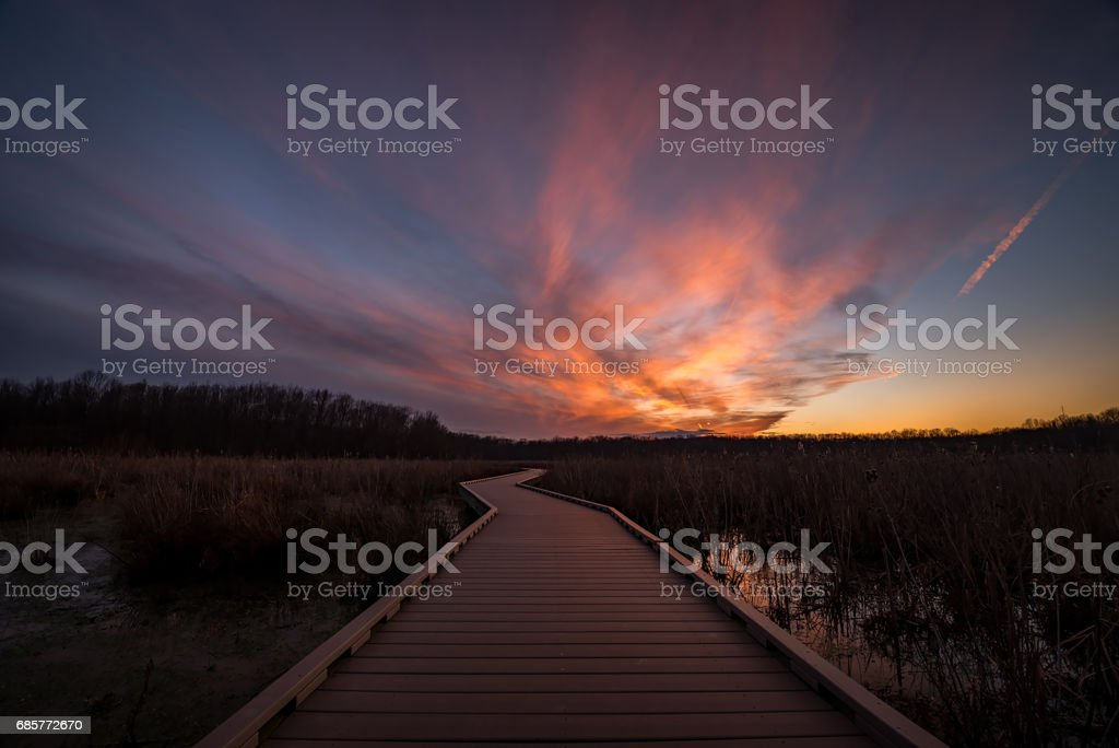 Boardwalk Sunset stock photo