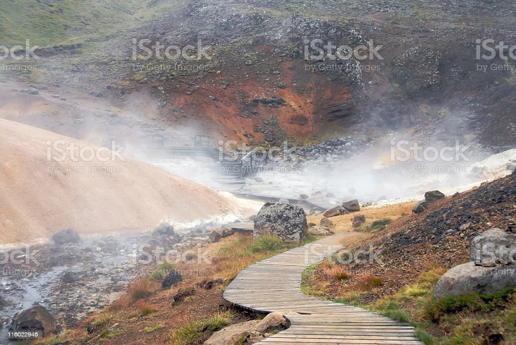 Boardwalk through a geothermal area,Seltun,Iceland royalty-free stock photo