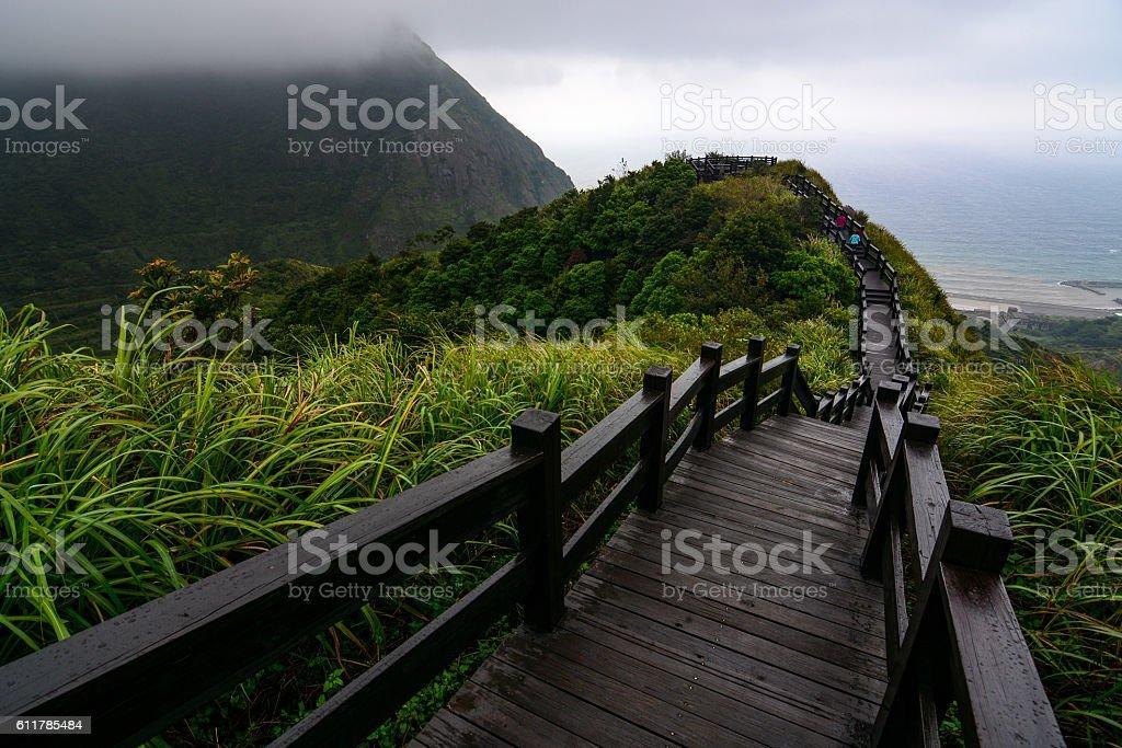 Boardwalk to an overlook on coast of Jiufen in Taiwan stock photo