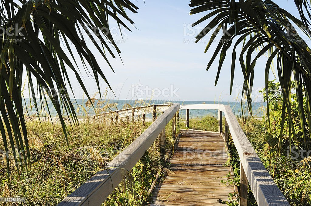 Boardwalk to Beach on Sanibel Island stock photo